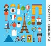paris  france flat elements for ... | Shutterstock .eps vector #393214600