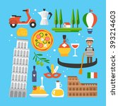 italy flat elements for web... | Shutterstock .eps vector #393214603