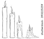 vector set of sketch candles.... | Shutterstock .eps vector #393225259