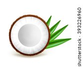 half coconut with leaves... | Shutterstock .eps vector #393226960