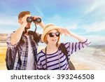 young couple of travelers on... | Shutterstock . vector #393246508