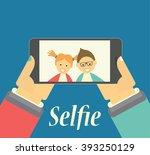 boy and girl taking selfie... | Shutterstock .eps vector #393250129