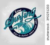 california beach summer surfing ... | Shutterstock .eps vector #393251203