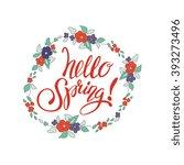 spring lettering design... | Shutterstock .eps vector #393273496