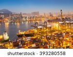 industrial port with containers | Shutterstock . vector #393280558