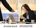worried businesswoman receiving ... | Shutterstock . vector #393282928
