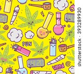 weed kawaii cartoon seamless... | Shutterstock .eps vector #393289930