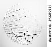 abstract spherical mesh of... | Shutterstock .eps vector #393290554