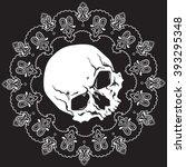 bandana black and white design... | Shutterstock .eps vector #393295348