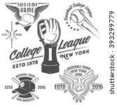 set of baseball emblems and... | Shutterstock .eps vector #393299779