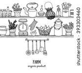 rustic kitchen sketchy banner.... | Shutterstock .eps vector #393303460