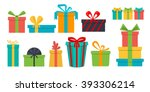 set of different gift boxes.... | Shutterstock . vector #393306214