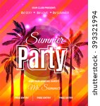 summer beach party flyer  ... | Shutterstock .eps vector #393321994