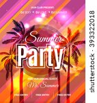 summer beach party flyer  ... | Shutterstock .eps vector #393322018