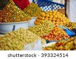 selection of pickled olives on... | Shutterstock . vector #393324514