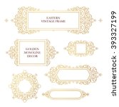vector set of line art frames... | Shutterstock .eps vector #393327199