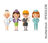 set of  female characters in a... | Shutterstock .eps vector #393331258