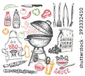 barbecue grill hand drawn... | Shutterstock .eps vector #393332410