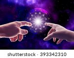 man and woman hands touching an ... | Shutterstock . vector #393342310