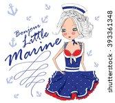 cute marine girl.good morning...   Shutterstock .eps vector #393361348