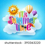 summer time text in the blue... | Shutterstock .eps vector #393363220