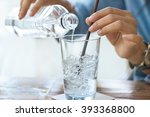 woman drink water with ice in... | Shutterstock . vector #393368800