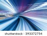 speedy train moving in tunnel | Shutterstock . vector #393372754