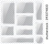 set of transparent glass plates ... | Shutterstock .eps vector #393374833