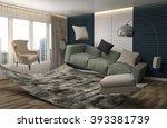 zero gravity sofa hovering in... | Shutterstock . vector #393381739