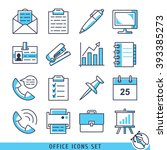 office icons set lines vector... | Shutterstock .eps vector #393385273
