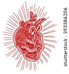 abstract human heart  lino cut... | Shutterstock .eps vector #393386206