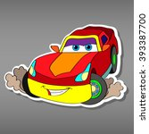 cartoon sport red car sticker... | Shutterstock .eps vector #393387700