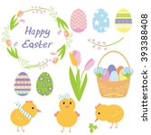 set of easter elements with... | Shutterstock .eps vector #393388408