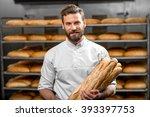 handsome baker in uniform... | Shutterstock . vector #393397753