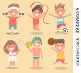 set of kids engaged in summer... | Shutterstock .eps vector #393398329