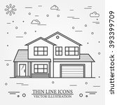 vector thin line icon  suburban ... | Shutterstock .eps vector #393399709