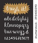 calligraphic brush pen font... | Shutterstock .eps vector #393400390