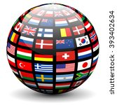 flags of the world on a globe.... | Shutterstock .eps vector #393402634