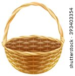 empty wicker basket. isolated... | Shutterstock .eps vector #393403354
