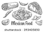 mexican traditional food set... | Shutterstock .eps vector #393405850