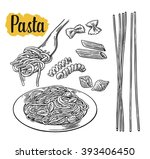 set pasta on fork and plate.... | Shutterstock .eps vector #393406450