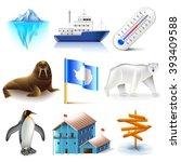 antarctica icons detailed photo ... | Shutterstock .eps vector #393409588