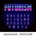80's retro futurism sci fi font ... | Shutterstock .eps vector #393411184