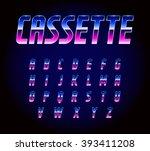 80's retro futurism sci fi font ... | Shutterstock .eps vector #393411208