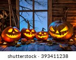Stock photo halloween pumpkin head jack lantern with burning candles 393411238