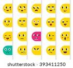 set of emoticons or emoji.... | Shutterstock .eps vector #393411250