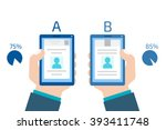 a b comparison. split testing.... | Shutterstock .eps vector #393411748