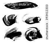 vector set of grunge brush... | Shutterstock .eps vector #393412303