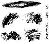 vector set of grunge brush... | Shutterstock .eps vector #393412423