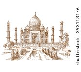 taj mahal illustration  ... | Shutterstock .eps vector #393413176